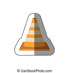 dotted sticker striped traffic cone vector illustration