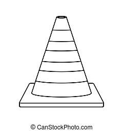 silhouette striped traffic cone icon vector illustration