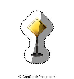 dotted sticker yellow road sign
