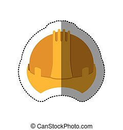 dotted sticker construction helmet icon vector illustration