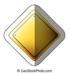 dotted sticker rhombus safety road sign yellow vector...