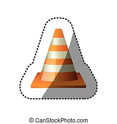 dotted sticker striped traffic cone icon vector illustration