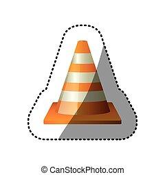 dotted sticker striped traffic cone icon