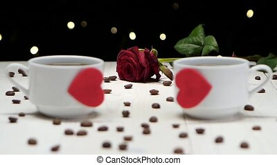 Cup of coffee. Romantic evening. Couple of people in love -...