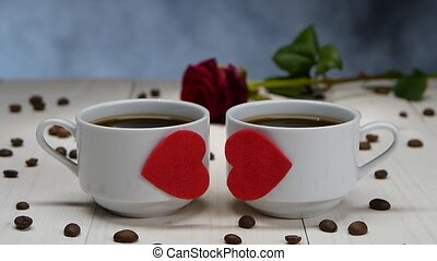 Two cups of hot coffee lovers. Romantic dinner in cafes -...