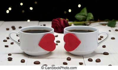 Romantic evening. Couple of people in love. Cup of coffee -...
