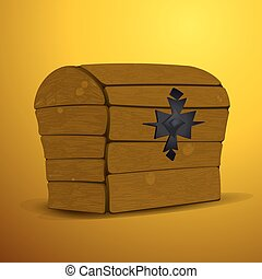 large wood kist - vector illustration large wood kist