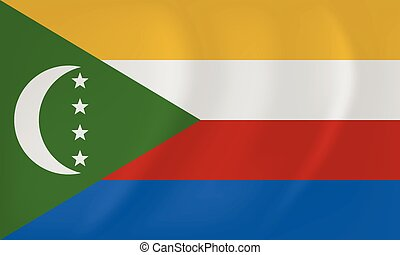 Comoros waving flag - Vector image of the Comoros waving...