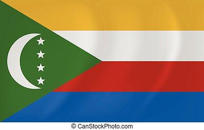 Comoros waving flag - Vector image of the Comoros waving...