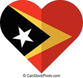 East Timor flat heart flag - Vector image of the East Timor...