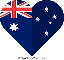 Australia flat heart flag - Vector image of the Australia...