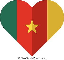 Cameroon flat heart flag - Vector image of the Cameroon flat...
