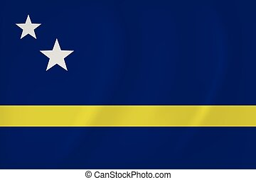 Curacao waving flag - Vector image of the Curacao waving...