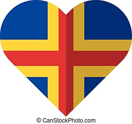 Aland flat heart flag - Vector image of the Aland flat heart...
