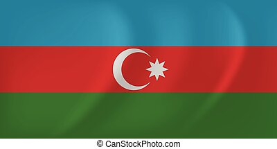 Azerbaijan waving flag - Vector image of the Azerbaijan...