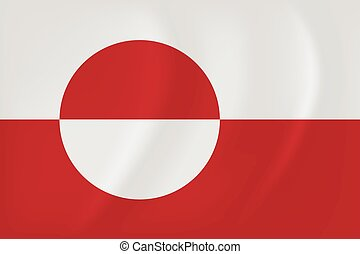 Greenland waving flag - Vector image of the Greenland waving...