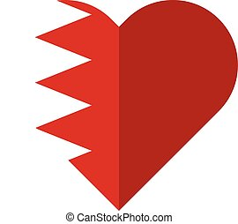 Bahrain flat heart flag - Vector image of the Bahrain flat...