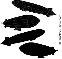 Vintage airship. Dirigible balloon. Vector illustration...