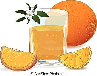 Orange juice and slices