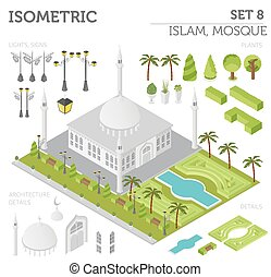 Flat 3d isometric islamic mosque and city map constructor...