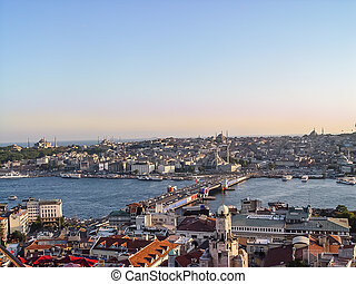Panoramic view of Istanbul at the sunset, Turkey