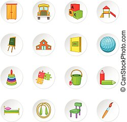 Kindergarten security icons set in white circle isolated on...