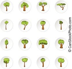 Green trees icons set