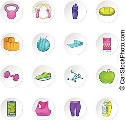 Healthy lifestyle icons set in white circle isolated on...