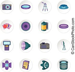 Photo studio icons set. Cartoon illustration of 16 photo...