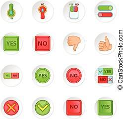 Yes no icons set