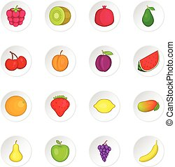 Fruit icons set. Cartoon illustration of 16 fruit travel...