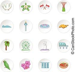 Singapore travel icons set