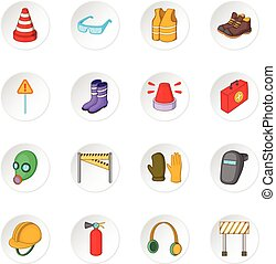 Safety work icons set