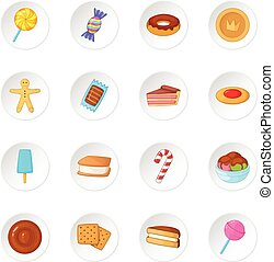 Different candy icons set. Cartoon illustration of 16...