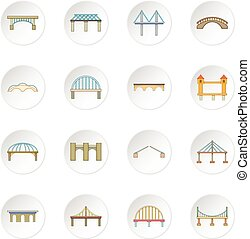 Bridge construction icons set. Cartoon illustration of 16...