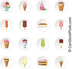 Ice cream icons set. Cartoon illustration of 16 ice cream...