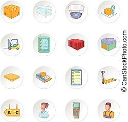 Warehouse store icons set. Cartoon illustration of 16...