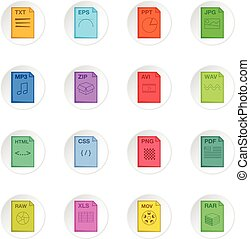 File extension icons set. Cartoon illustration of 16 file...