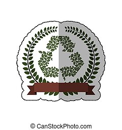 sticker crown of leaves with recycled symbol