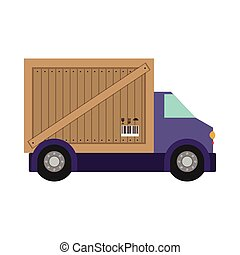 transport truck with vagon of wooden box vector illustration