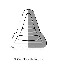 gray silhouette dotted sticker traffic cone vector...