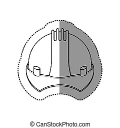 gray silhouette dotted sticker construction helmet icon...