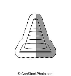 gray silhouette dotted sticker striped traffic cone vector...