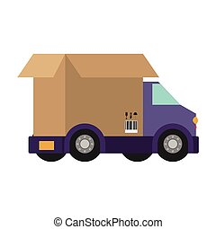 transport truck with vagon of packing box vector...