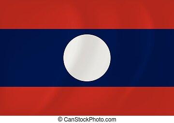 Laos waving flag - Vector image of the Laos waving flag