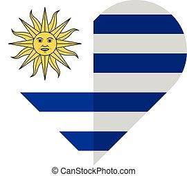 Uruguay flat heart flag - Vector image of the Uruguay flat...