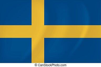 Sweden waving flag - Vector image of the Sweden waving flag