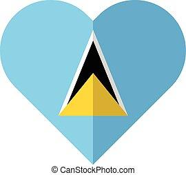 Saint Lucia flat heart flag - Vector image of the Saint...