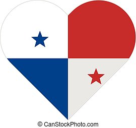 Panama flat heart flag - Vector image of the Panama flat...