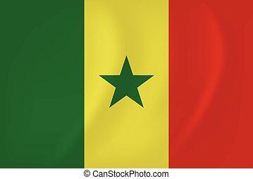 Senegal waving flag - Vector image of the Senegal waving...
